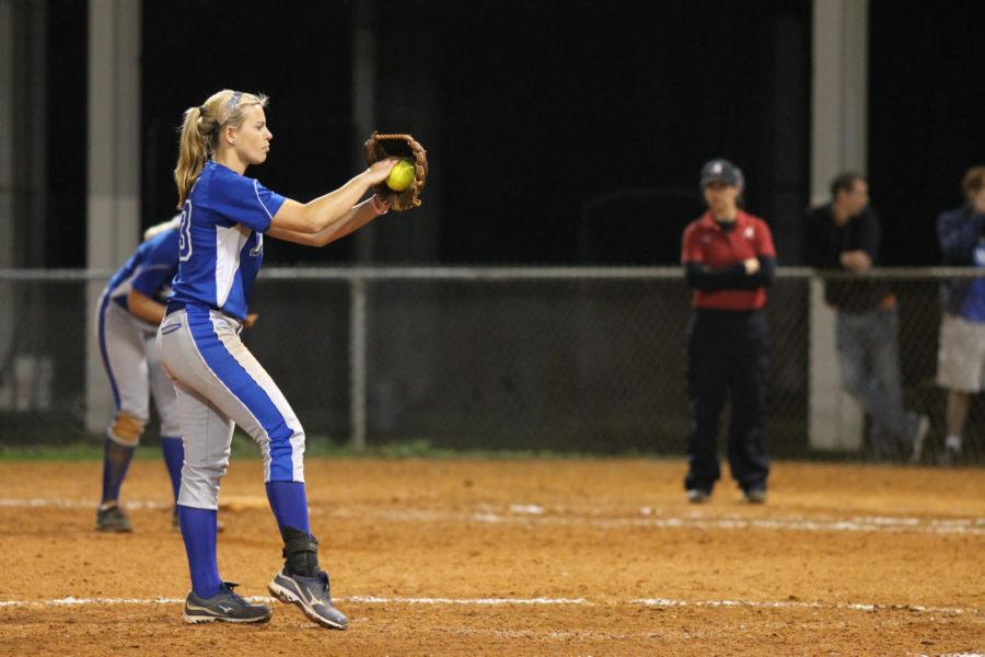 FGCU pitcher Shelby Morgan winds up the pitch during FGCU's game against Alabama State. (EN Photo / Kelli Krebs)