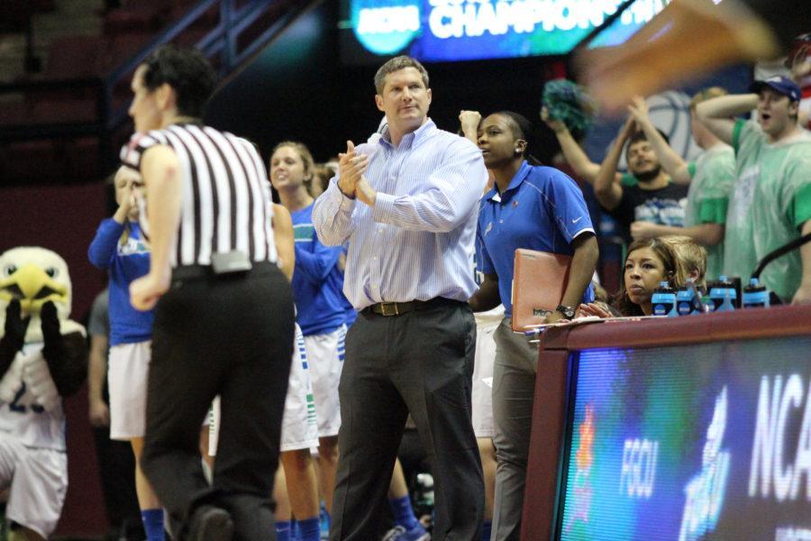 Karl Smesko watches during FGCUs first round game in the NCAA tournament against Oklahoma State. (EN Photo / Kelli Krebs)