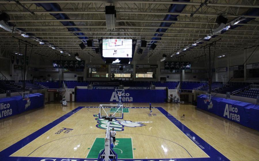 Alico Arena tests its new LED scoreboard after its instillation this summer. (EN Photo / Kelli Krebs)