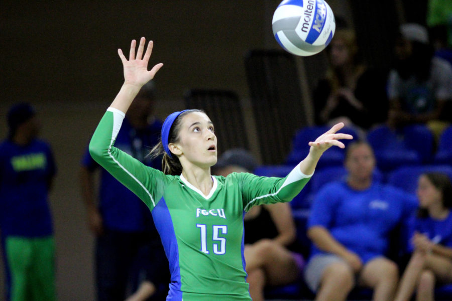 FGCU freshman Mackenzie Allen serves during the Eagles' first conference match against Stetson.