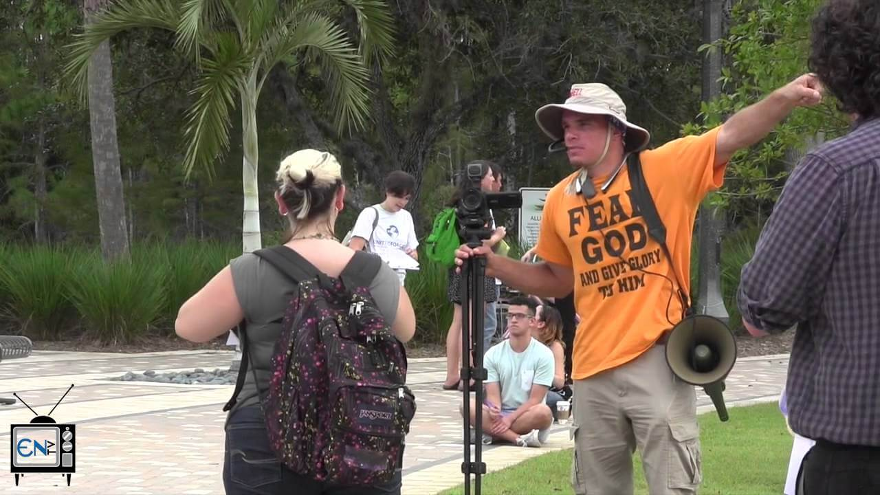 Preacher visits FGCU campus to 'save souls'