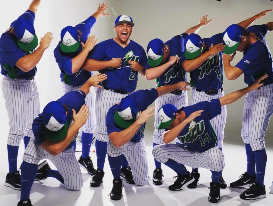 The FGCU baseball team celebrates the start to the season with an epic picture day team photo. (Special to Eagle News)