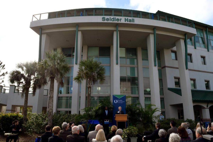 The unveiling ceremony of Seidler Hall at FGCU on Thursday, Jan. 7, 2016. (EN Photo / Rachel Iacovone)