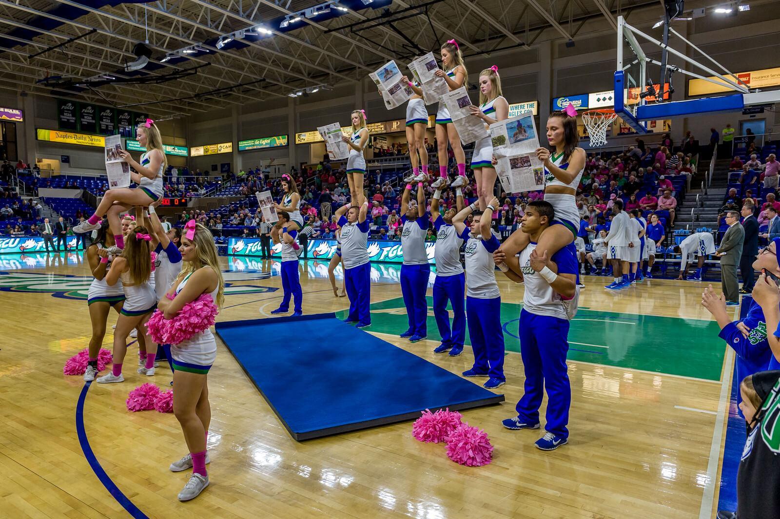 Male cheerleaders at FGCU grow in numbers