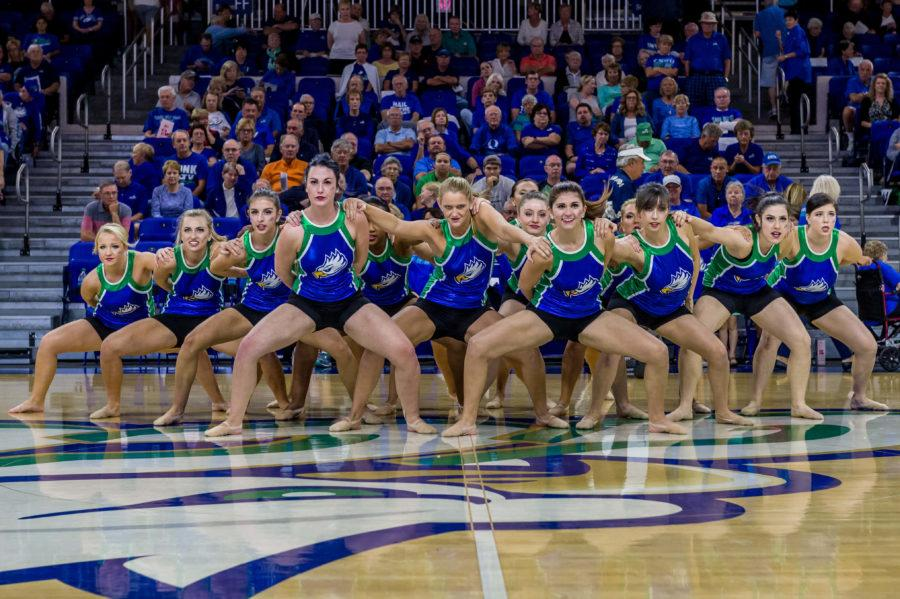 The E'Gals perform during the halftime of a recent home FGCU women's basketball game. (Photo by Linwood Ferguson)