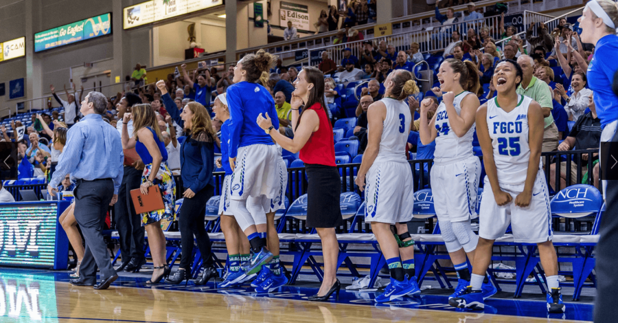 The bench celebrates a play  during a 2015 home game. (Photo by Linwood Ferguson)