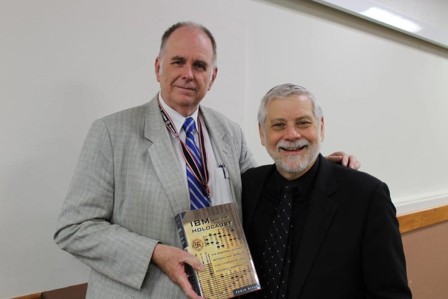 Black stands with Paul Bartrop, an FGCU professor, before the event. Bartrop is also an award-winning author, who focuses on the history of the Holocaust and genocide.