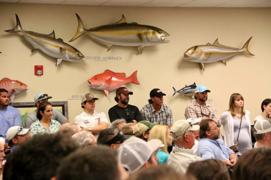 Captains for Clean Water hosted a meeting at Bass Pro Shops Friday night to talk about the releases from Lake Okeechobee into the Caloosahatchee River and how it is affecting their lives on the water. (EN Photo / Kelli Krebs)
