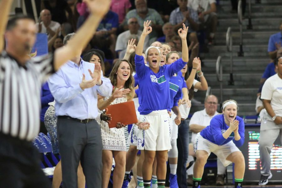 The FGCU womens basketball team bench celebrates a made 3-pointer during the Atlantic Sun Conference Championship against Jacksonville. (EN Photo / Kelli Krebs)