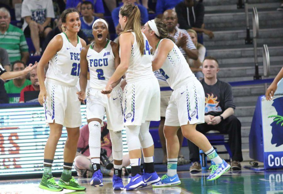 Kaneisha+Atwater+celebrates+a+foul+in+the+second+quarter+of+the+Atlantic+Sun+Conference+Championship+game+between+FGCU+and+Jacksonville.+%28EN+Photo+%2F+Kelli+Krebs%29