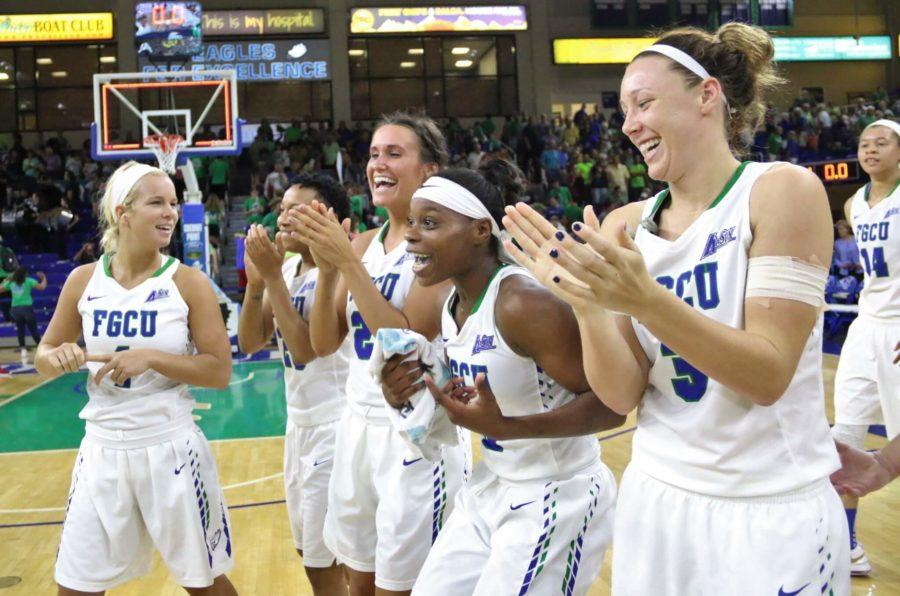 FGCU senior Kaniesha Atwater and the rest of the FGCU womens basketball team reacts to the announcement that FGCU would host the Final Four round against Michigan following Monday nights WNIT Elite Eight game against Hofstra at Alico Arena. (EN Photo / Kelli Krebs)