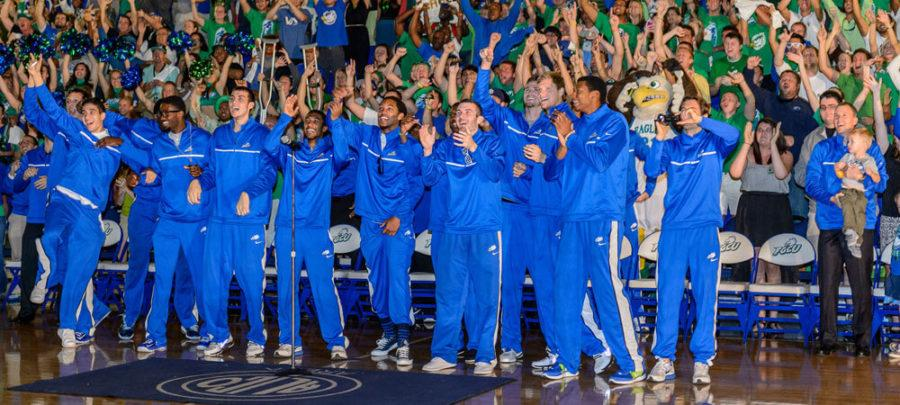FGCU men's basketball team celebrates after hearing where they will play in the NCAA tournament.  (Photo by Linwood Ferguson)