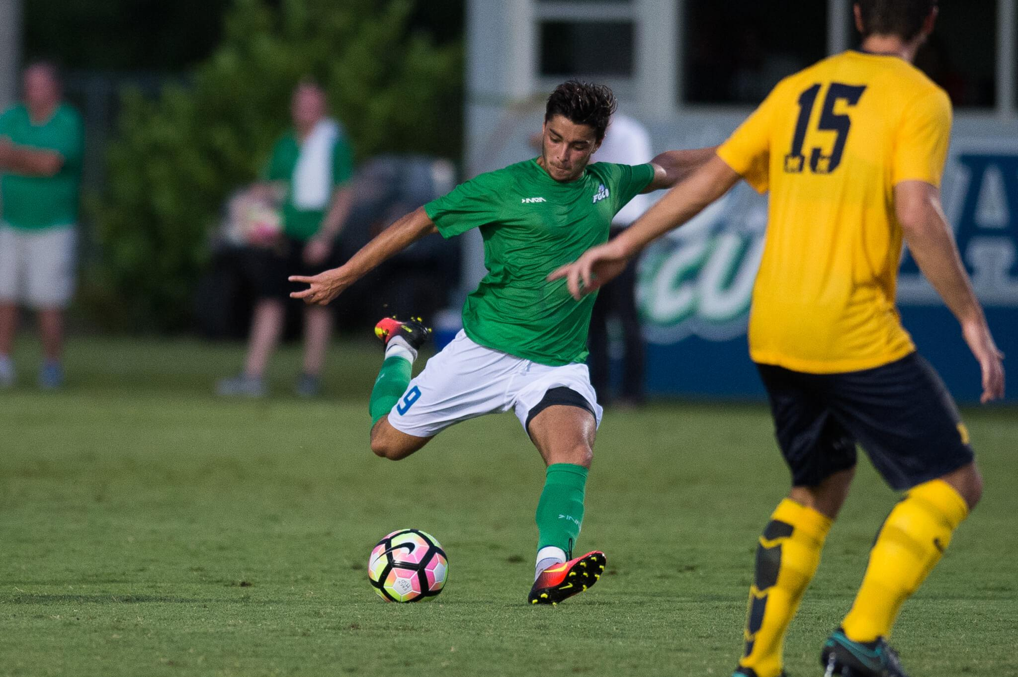 FGCU men's soccer team battles back to earn a 2-2 draw against Michigan in double overtime