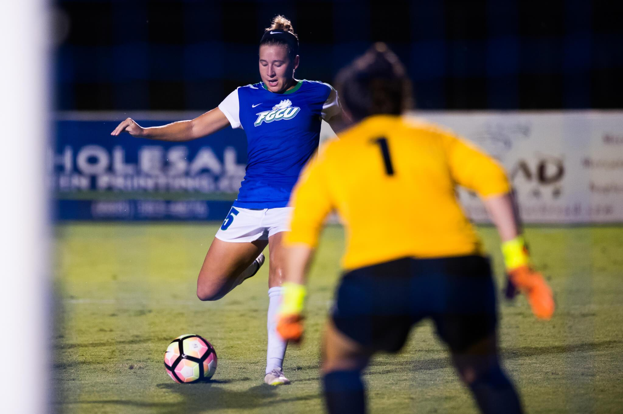 FGCU women's soccer defeats USC Upstate 4-0 behind Tindell's record-breaking performance