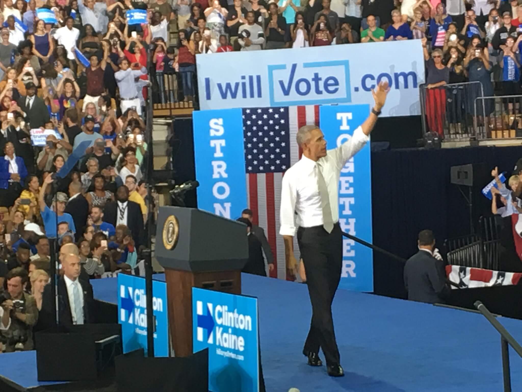 Obama visits Clinton Rally at UCF
