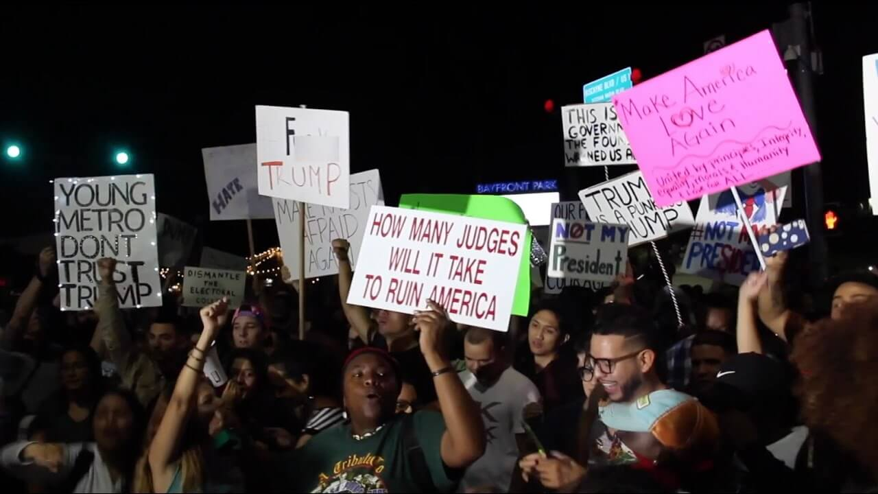 Thousands protest president-elect Trump in Miami, blocking roadways