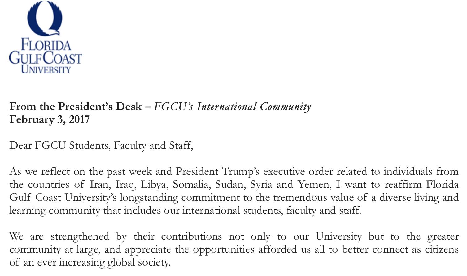 Bradshaw addresses President Trump's travel ban