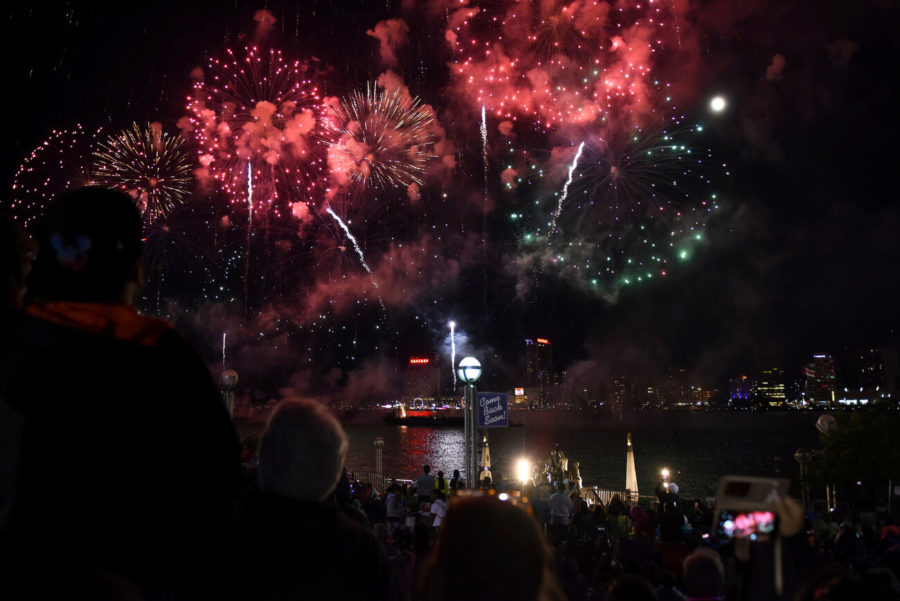 More than 100,000 explosives light up the sky in downtown Detroits Hart Plaza over the Detroit River during the 60th annual Detroit Ford Fireworks Monday, June 25, 2018. (Tanya Moutzalias/Ann Arbor News via AP)
