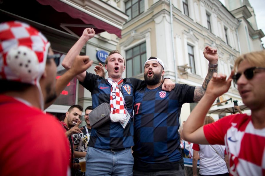 Croatia+fans+cheer+in+Nikolskaya+street+near+Red+Square+in+eve+of+the+final+soccer+match+Croatia+and+France+during+the+2018+soccer+World+Cup+in+Moscow%2C+Russia%2C+Saturday%2C+July+14%2C+2018.+%28AP+Photo%2FAlexander+Zemlianichenko%29