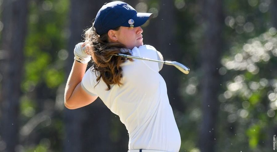 Photo courtesy of UNF Athletics // Cobb cometes in a tournament as a redshirt senior at the University of North Florida. Cobb recently finished her collegiate career at UNF in the spring of 2018.