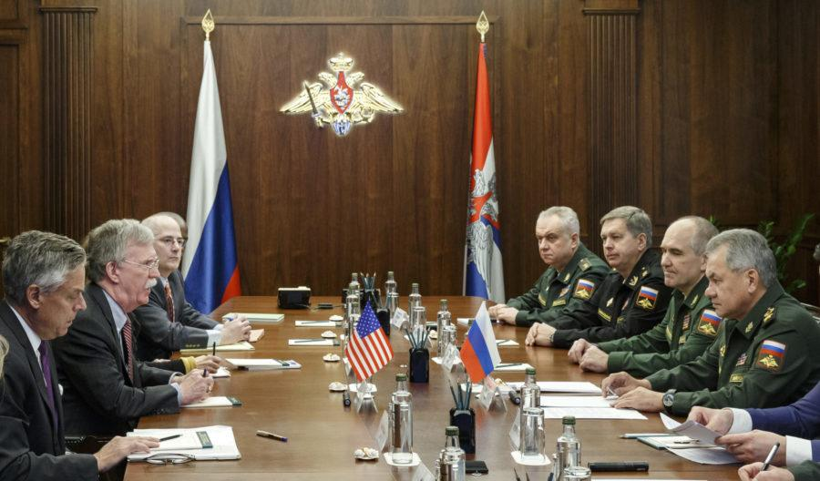 U.S. National Security Adviser John Bolton, second left, and Russian Defense Minister Sergei Shoigu, right, attend the talks in Moscow, Russia, Tuesday, Oct. 23, 2018. U.S. President Donald Trumps national security adviser Bolton struck a conciliatory note Tuesday in talks in Moscow, just days after Trump vowed to pull out of a key arms control treaty with Russia. (Vadim Savitsky, Russian Defense Ministry Press Service via AP)