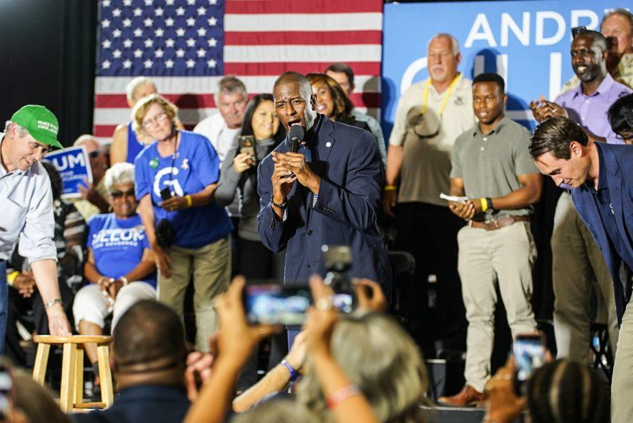 EN Photos by Bret Munson // Andrew Gillum addresses the crowd at his rally on Tuesday, Oct. 30. Nearly a thousand people attended the rally.