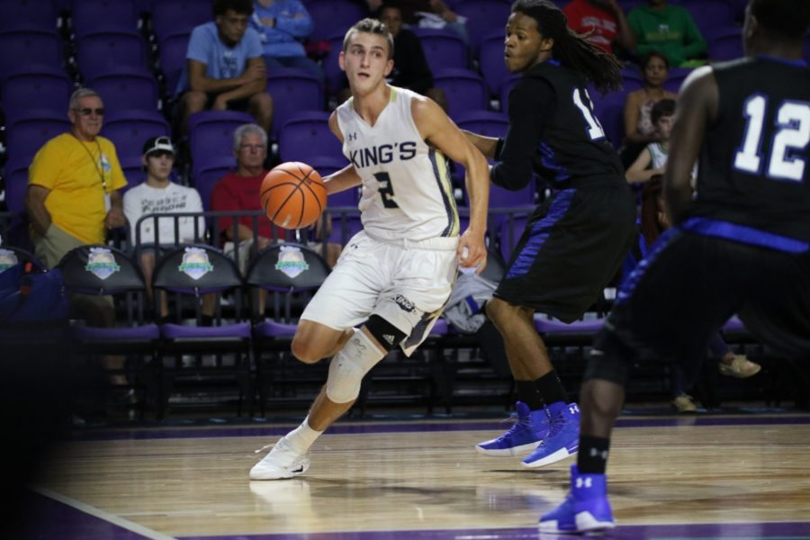 EN Photo by Bret Munson // FGCU basketball freshman Caleb Catto moves down the court at the City of Palms tournament in 2017. Catto is now one of two true freshmen on the FGCU mens basketball team.