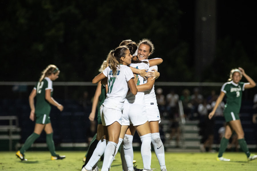 EN Photo by Bret Munson // Womens soccer celebrates after a win at home.
