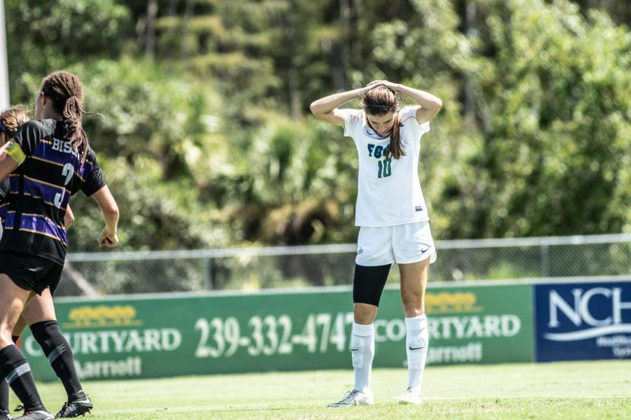 EN Photo by Bret Munson // Womens soccers Lindsey Patton reflects after a loss against Lipscomb early in the 2018 season. After a recent loss against Lipscomb in the ASUN semifinals, the womens soccer season has ended.