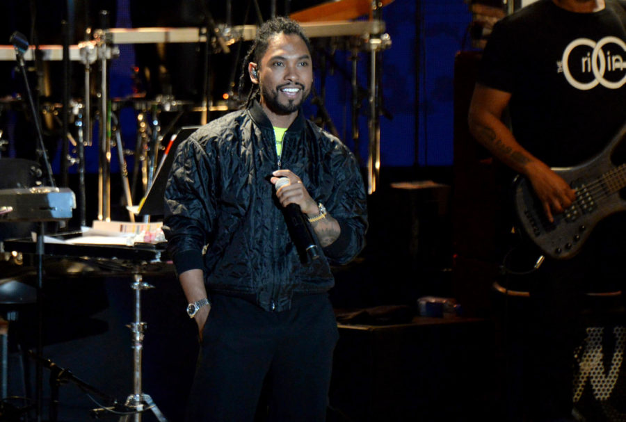 Miguel performs during the tribute event Mac Miller: A Celebration of Life on Wednesday, Oct. 31, 2018, at the Greek Theatre in Los Angeles. (Photo by Amy Harris/Invision/AP)