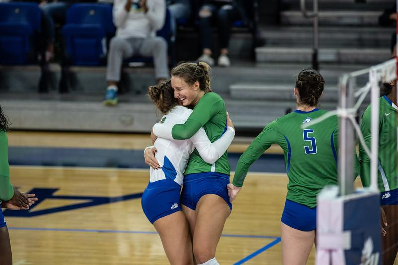 EN Photo by Bret Munson // FGCU volleyballs Cortney VanLiew and Dana Axner celebrate a home game win in the regular season. The Eagles defeated Liberty  University 3-0 in the ASUN conference semifinals and are now headed to the championship match.