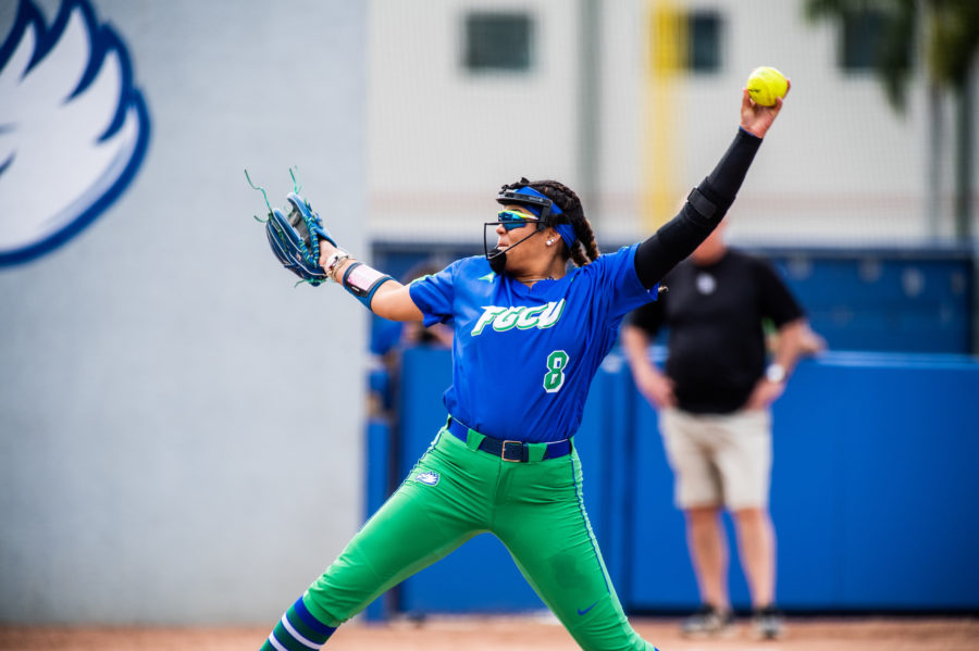 Riley Randolph of FGCU softball throws a pitch in a home-win against LIU-Brooklyn. Randolph earned her ninth career Pitcher of the Week award on Monday, Feb. 25.