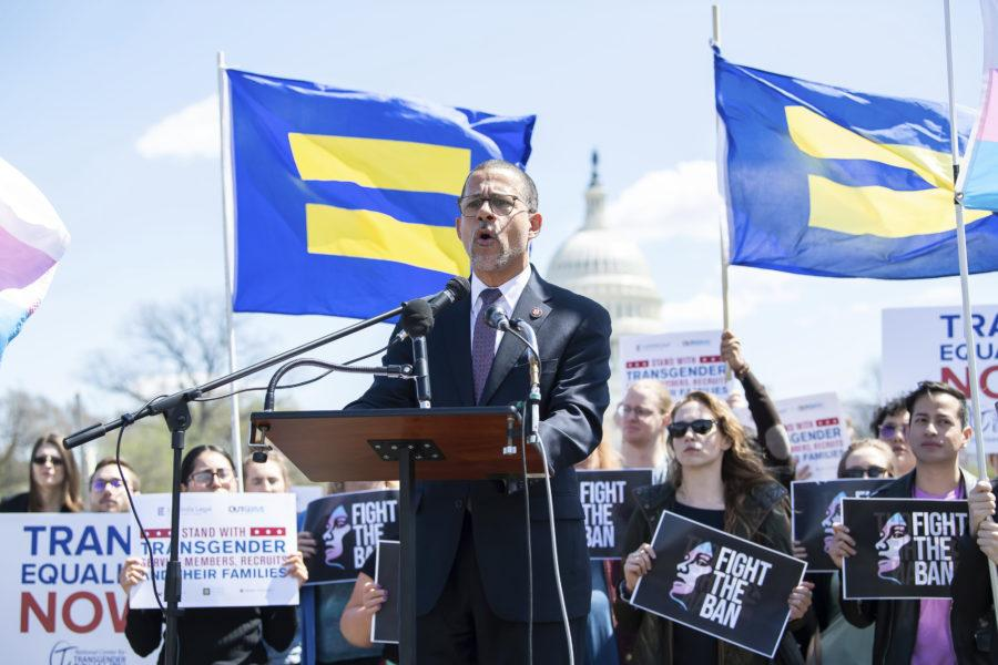 IMAGE DISTRIBUTED FOR HUMAN RIGHTS CAMPAIGN - U.S. Representative Anthony G. Brown (D-MD 4th District) speaks at the Fight the Ban: A Rally to Support Transgender Troops on Wednesday, April 10, 2019 in Washington. (Joy Asico/AP Images for Human Rights Campaign)