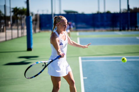 EN Stock Photo // Despite rain cancellations, womens tennis picked up a trio of singles wins and one doubles win in the teams first outing of their fall season.