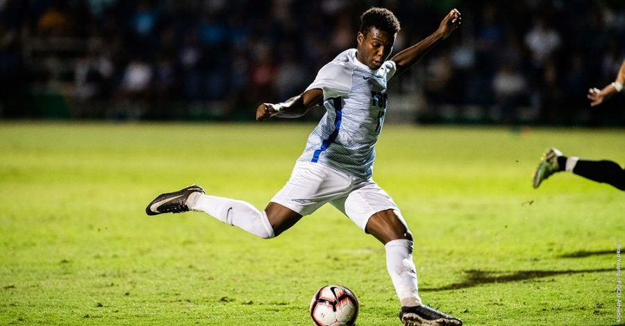 Photo Provided by FGCU Athletics // Shak Adams scored the Eagles' lone goal against UNF as the game would end in a 1-1 tie following double overtime.