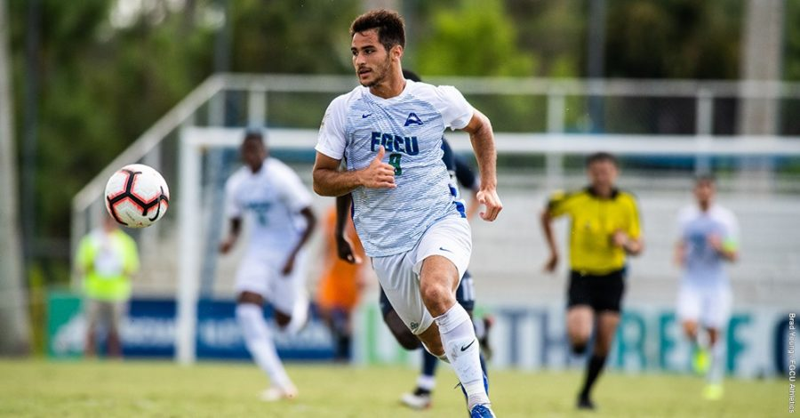 Photo Provided by FGCU Athletics // Joao Burti, senior forward, scored the lone goal for the Eagles in their 3-1 loss to FAU on the road.