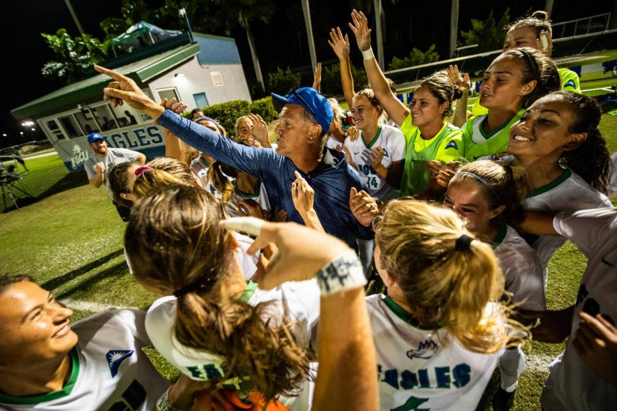 Photo Provided by FGCU Athletics // Head coach Jim Blankenship pickup up his 400th career win as the Eagles took down Creighton in a 2-1 home win.