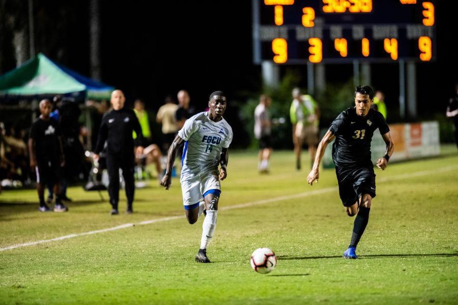 Photo Provided by FGCU Athletics // Shak Adams tallied his first goal of the season for FGCU in the 4-1 home loss to UCF.