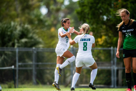 Photo Provided by FGCU Athletics // Evdokia Popadinovas two goals helped FGCU surge past Stetson 3-2 to claim their ninth ASUN regular-season title in the programs history and the No.1 seed in the ASUN championship.