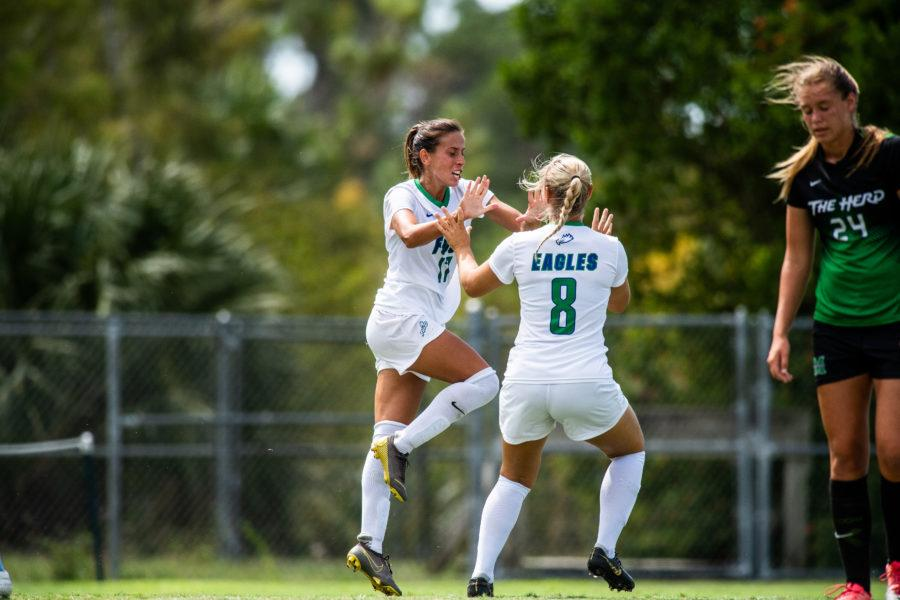 Photo+Provided+by+FGCU+Athletics+%2F%2F+Evdokia+Popadinovas+two+goals+helped+FGCU+surge+past+Stetson+3-2+to+claim+their+ninth+ASUN+regular-season+title+in+the+programs+history+and+the+No.1+seed+in+the+ASUN+championship.