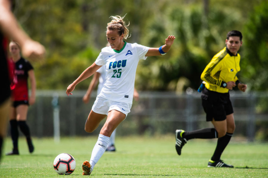 Photo+Provided+by+FGCU+Athletics+%2F%2F+Marjorie+Boilesen%27s+two+goals+pushed+the+Eagles+past+the+Ball+State+Cardinals+in+their+Sunday+afternoon+matchup.+