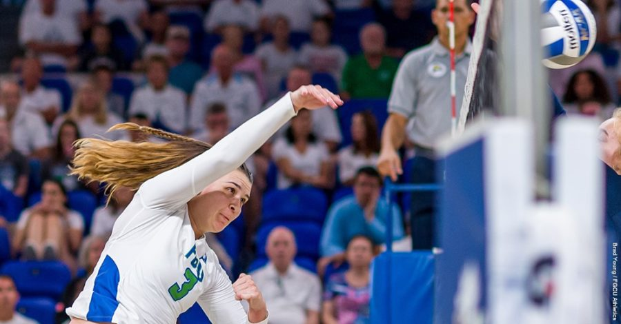 Photo+Provided+by+FGCU+Athletics+%2F%2F+Daniele+Serrano+inched+closer+to+cementing+her+name+in+history%2C+as+she%27s+now+eight+blocks+shy+of+the+all-time+ASUN+record+for+career+blocks.