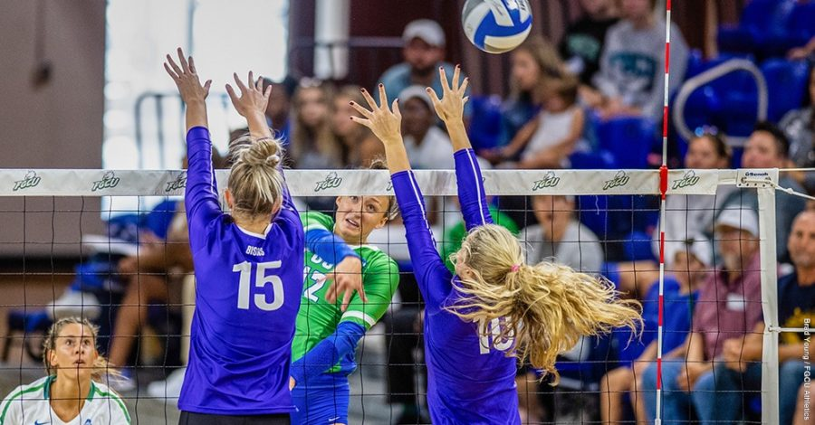 Photo+Provided+by+FGCU+Athletics+%2F%2F+Cortney+VanLiew+eclipsed+1%2C000+career+kills+as+FGCU+returned+home+for+the+first+time+in+three+weeks+and+defeated+Lipscomb+in+three+straight+sets.+
