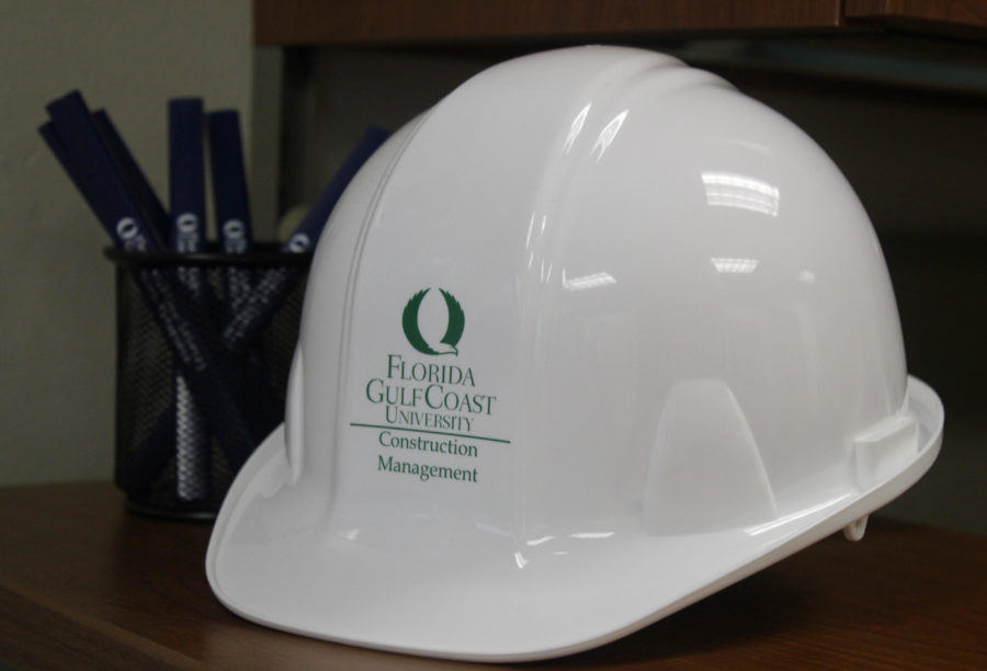 EN Photo by Lauren Miceli. A hard hat provided by the new Construction Management school at FGCU.