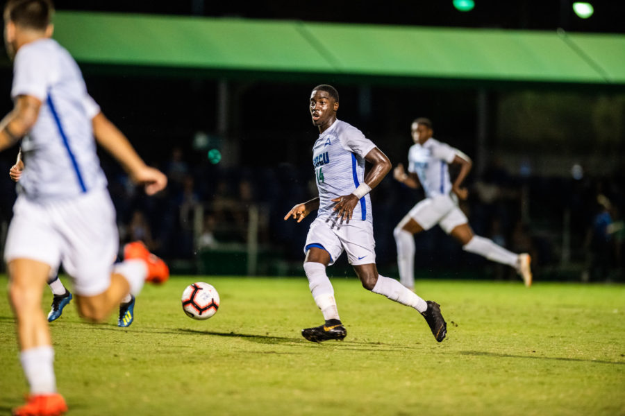 Photo+Provided+by+FGCU+Athletics+%2F%2F+O%27Vonte+Mullings+moved+to+four+goals+on+the+season+as+he+tallied+a+score+in+FGCU%27s+3-2+loss+in+double+overtime+against+FIU.+
