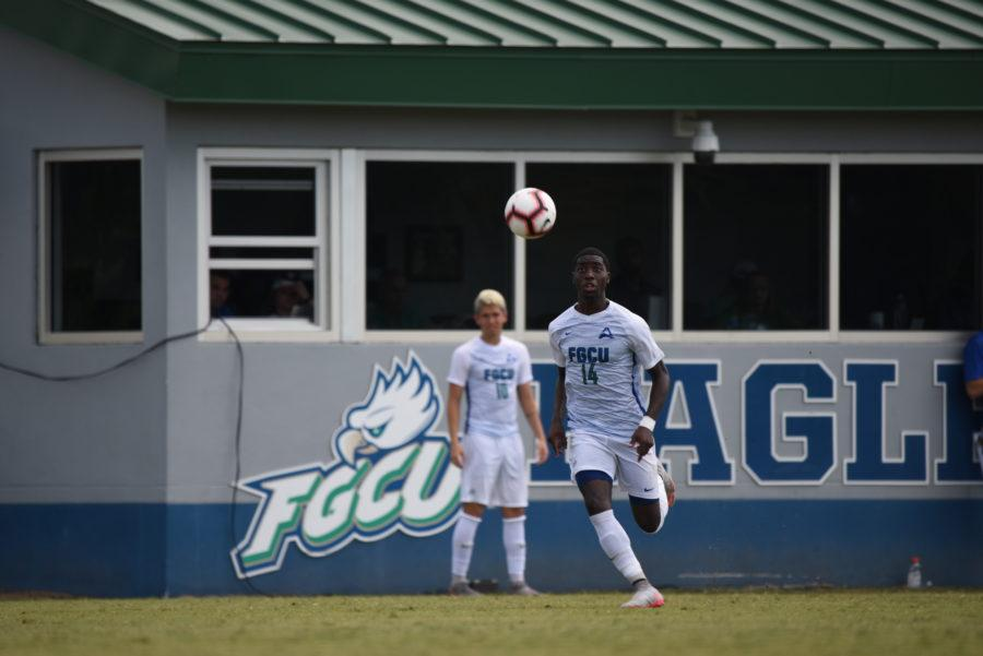 EN Photo by Julia Bonavita // With his third brace of the season, OVonte Mullings leads FGCU in scoring on the season with seven goals as the Eagles defeated Liberty on the road on Saturday.