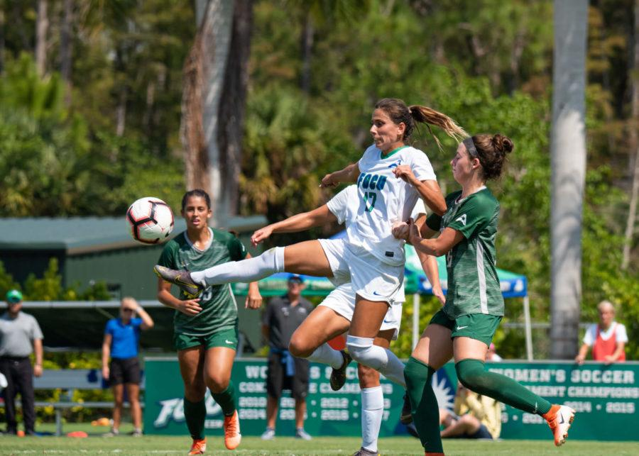 EN Photo by Julia Bonavita // Evdokia Popadinova's two-goal performance pushes the Eagles winning streak to six and puts them in second place in the ASUN standings.