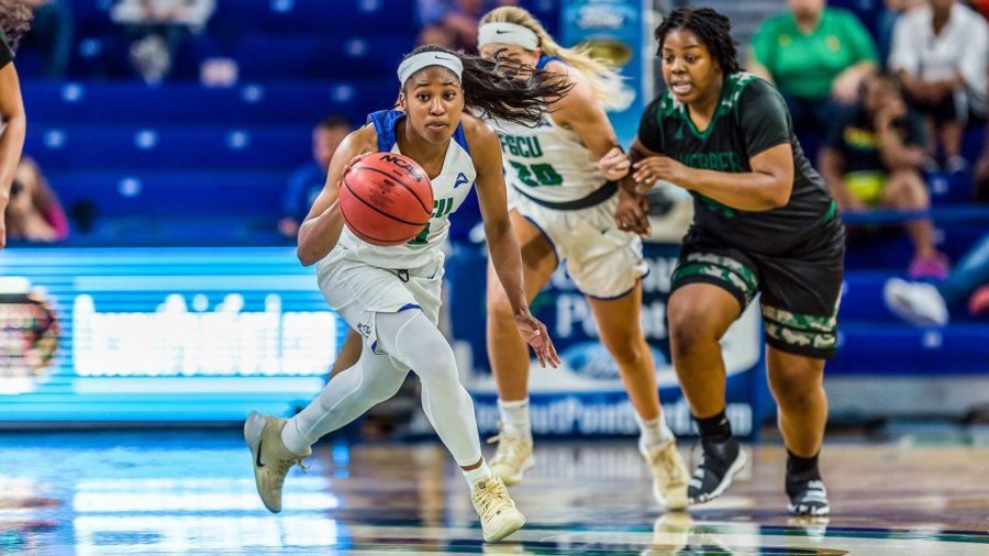 Photo Provided by FGCU Athletics // Davion Wingate led the Eagles with a team-high 23 points in their 99-48 victory over Weber.