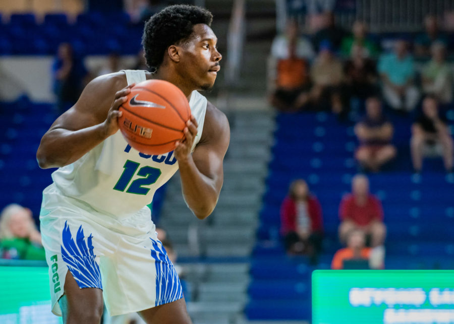 EN Photo by Julia Bonavita // Malik Hardy recorded a double-double, scoring 13 points and producing 12 rebounds, both career high. Even with that performance, FGCU couldn't best Campbell and lost 51-64.
