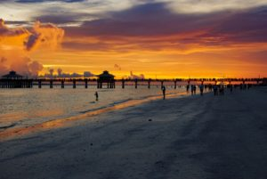 EN photo by Leah Sankey.  A sunset on Fort Myers Beach. Town council members say that they are doing what they can to reduce plastic waste on the island.